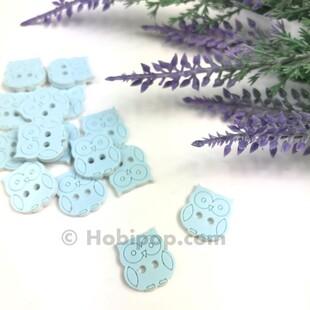 HOBİPOP - Bebek Düğmesi Baykuş Mavi 1 Adet