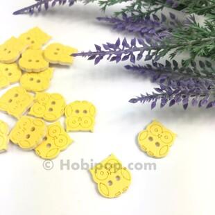 HOBİPOP - Bebek Düğmesi Baykuş Sarı 1 Adet