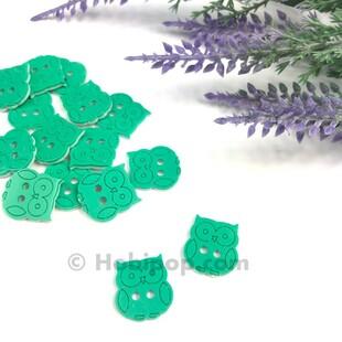 HOBİPOP - Bebek Düğmesi Baykuş Yeşil 1 Adet