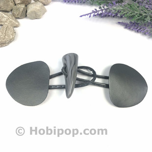 HOBİPOP - Deri Biritli Çoban Düğme Koyu Gri