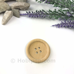 - Doğal Verniksiz Tahta Düğme 3 cm No:9