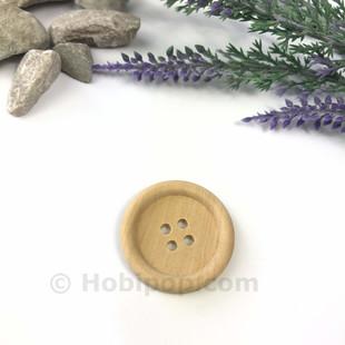 HOBİPOP - Doğal Verniksiz Tahta Düğme 3 cm No:9