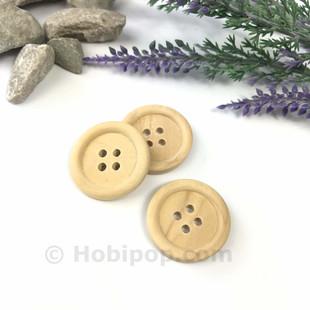 HOBİPOP - Doğal Verniksiz Tahta Düğme 2.5 cm 3 lü Paket No:7