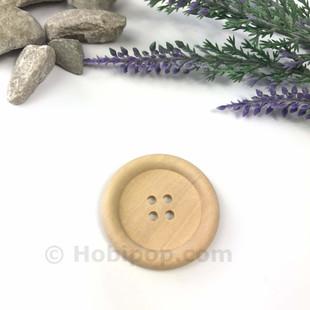 HOBİPOP - Doğal Verniksiz Tahta Düğme 3.5 cm No:10