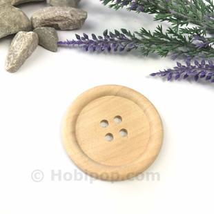 HOBİPOP - Doğal Verniksiz Tahta Düğme 4.5 cm No:12