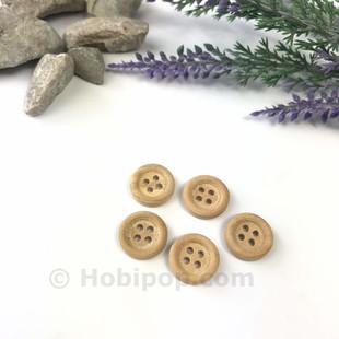 - Doğal Verniksiz Tahta Düğme 1.3 cm 5 li Paket No:3