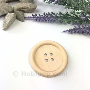 HOBİPOP - Doğal Verniksiz Tahta Düğme 3.8 cm No:11