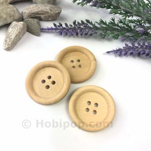 HOBİPOP - Doğal Verniksiz Tahta Düğme 2.7 cm 3 lü Paket No:8