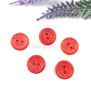 HOBİPOP - Handmade Ahşap Düğme Kırmızı 5 li Paket