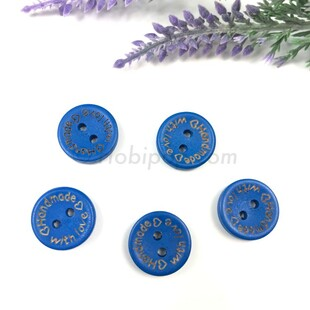 HOBİPOP - Handmade Ahşap Düğme Saks Mavi 5 li Paket