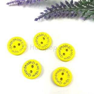 HOBİPOP - Handmade Ahşap Düğme Sarı 5 li Paket