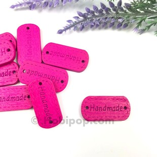 - Handmade Ahşap Etiket Düğme Fuşya