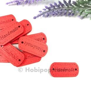 - Handmade Ahşap Etiket Düğme Kırmızı
