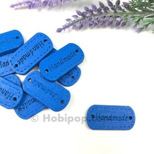- Handmade Ahşap Etiket Düğme Mavi