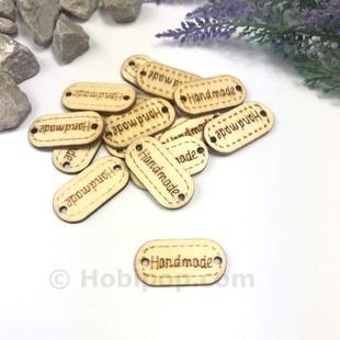 - Handmade Ahşap Etiket Düğme Oval