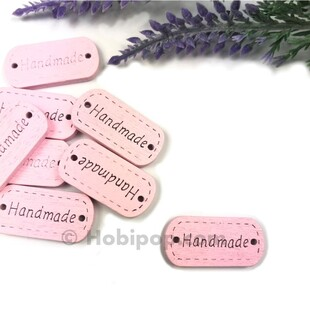 HOBİPOP - Handmade Ahşap Etiket Düğme Pembe