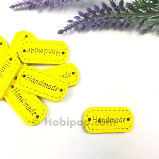 - Handmade Ahşap Etiket Düğme Sarı