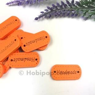 HOBİPOP - Handmade Ahşap Etiket Düğme Turuncu