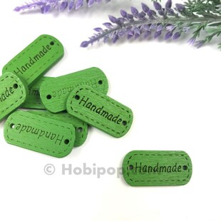 - Handmade Ahşap Etiket Düğme Yeşil