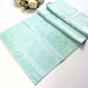 GLAMOUR - İşlemelik Etaminli Havlu Kadife Mint Yeşil