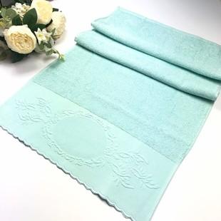 GLAMOUR - İşlemelik Etaminli Pikolu Havlu Mint Yeşil