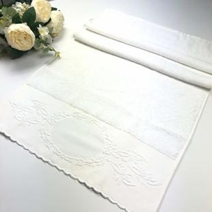 GLAMOUR - İşlemelik Etaminli Pikolu Havlu Beyaz