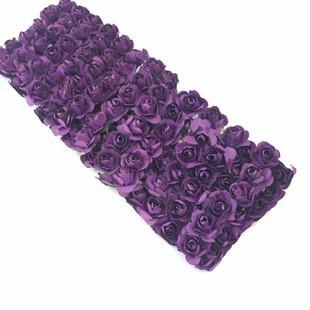 HOBİPOP - Kağıt Gül Süsleme Çiçeği 144 lü K. Mor