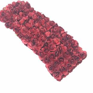 HOBİPOP - Kağıt Gül Süsleme Çiçeği 144 lü Bordo