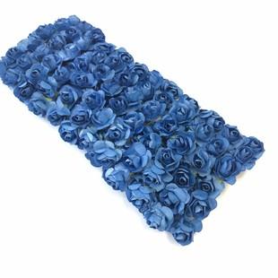HOBİPOP - Kağıt Gül Süsleme Çiçeği 144 lü K.Mavi