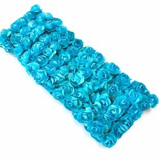 HOBİPOP - Kağıt Gül Süsleme Çiçeği 144 lü Mavi