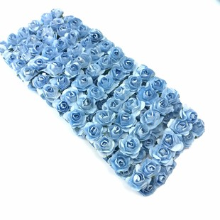 HOBİPOP - Kağıt Gül Süsleme Çiçeği 144 lü A.Mavi
