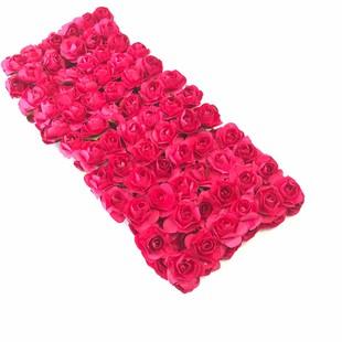 HOBİPOP - Kağıt Gül Süsleme Çiçeği 144 lü Fuşya