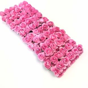 HOBİPOP - Kağıt Gül Süsleme Çiçeği 144 lü Pembe