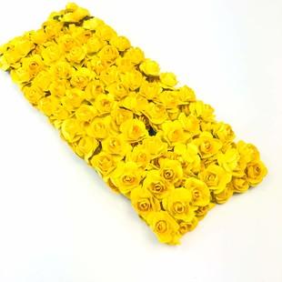 HOBİPOP - Kağıt Gül Süsleme Çiçeği 144 lü Sarı