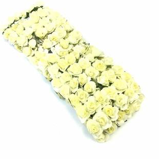 HOBİPOP - Kağıt Gül Süsleme Çiçeği 144 lü Krem