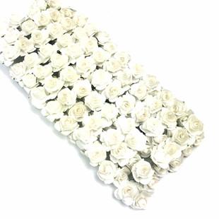 HOBİPOP - Kağıt Gül Süsleme Çiçeği 144 lü Beyaz