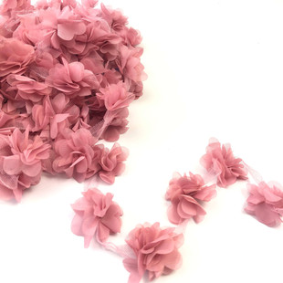 HOBİPOP - Lazer Kesim Şifon Çiçek Koyu Pudra