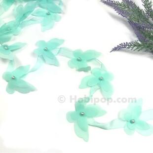 HOBİPOP - Lazer Kesim Şifon Kelebek Su Yeşili