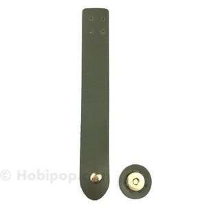 HOBİPOP - Mıknatıslı Suni Deri Çanta Kapama Haki Yeşil