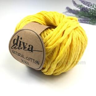 DİVA - Natural Cotton XXL Tarama Makrome İpi Bebe Sarı