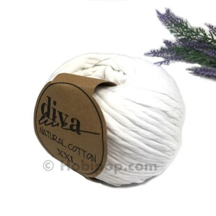 DİVA - Natural Cotton XXL Tarama Makrome İpi Beyaz