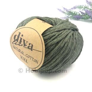 DİVA - Natural Cotton XXL Tarama Makrome İpi Haki Yeşil