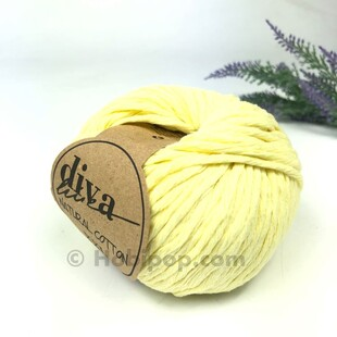 DİVA - Natural Cotton XXL Tarama Makrome İpi Soft Sarı