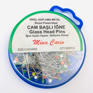 MİNA CARİN - Renkli Cam Başlı Toplu İğne 200 Adet