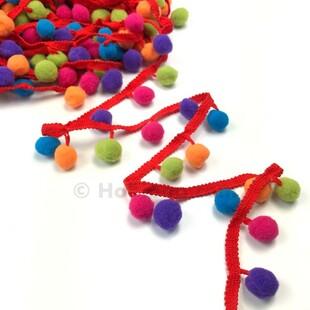 HOBİPOP - Renkli Ponponlu Şerit 1 Metre